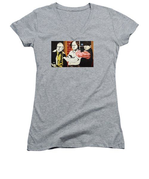 Women's V-Neck T-Shirt (Junior Cut) featuring the painting The Three Stooges by Thomas Blood