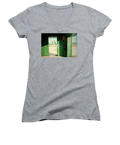 Women's V-Neck T-Shirt (Junior Cut) featuring the photograph The Thruway by Diana Angstadt