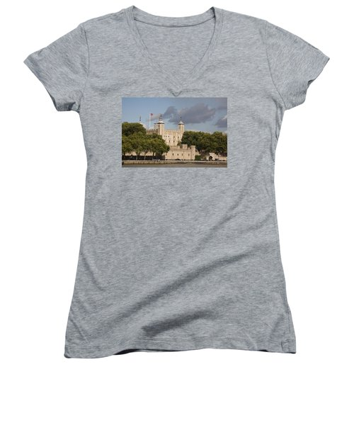 The Tower Of London. Women's V-Neck T-Shirt (Junior Cut) by Christopher Rowlands