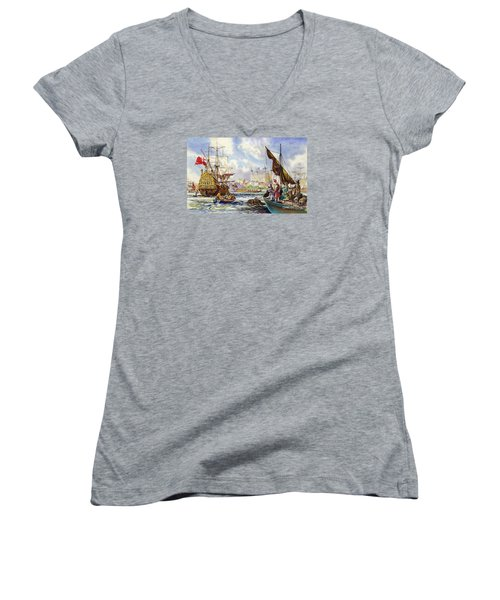 The Tower Of London In The Late 17th Century  Women's V-Neck T-Shirt (Junior Cut) by English School