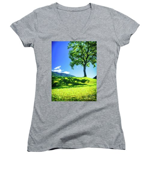 Women's V-Neck T-Shirt featuring the photograph The Tree On The Hill by Silvia Ganora