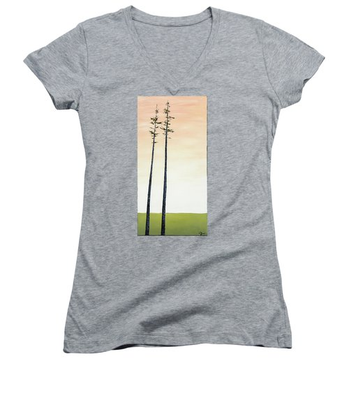 The Trees Are So Tall Here   Women's V-Neck T-Shirt (Junior Cut) by Carolyn Doe
