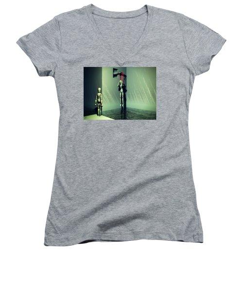 The Truthsayer Meets Denial Women's V-Neck T-Shirt (Junior Cut) by John Alexander