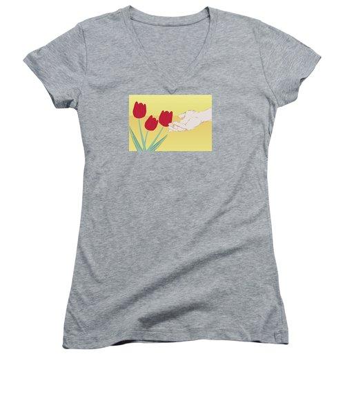The Tulips Women's V-Neck T-Shirt (Junior Cut) by Milena Ilieva