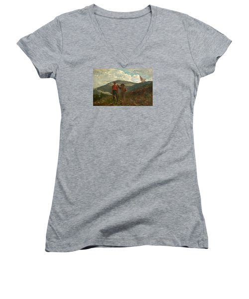 Women's V-Neck T-Shirt (Junior Cut) featuring the painting The Two Guides by Winslow Homer