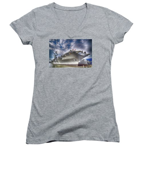 The U S S Intrepid  Women's V-Neck T-Shirt