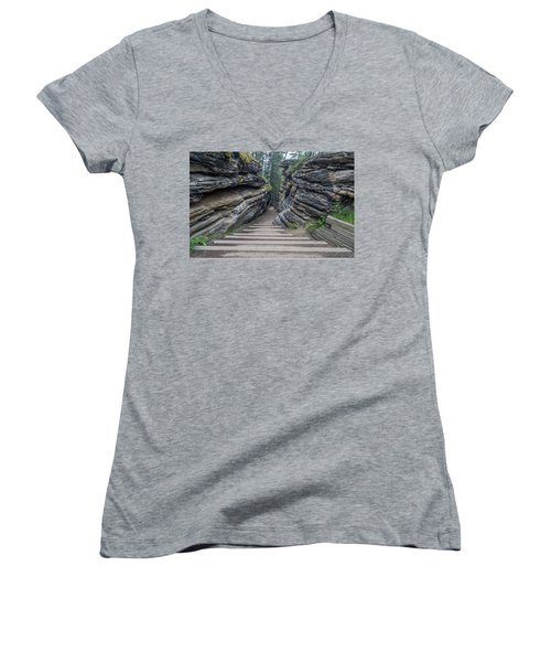 The Unknown Path Women's V-Neck T-Shirt (Junior Cut) by Alpha Wanderlust