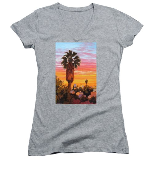 Women's V-Neck T-Shirt (Junior Cut) featuring the painting The Urban Jungle by Andrew Danielsen