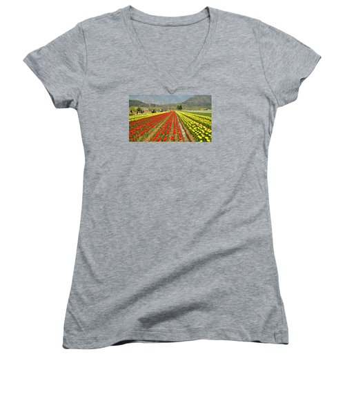 The Valley Blooms Women's V-Neck T-Shirt (Junior Cut) by Fotosas Photography