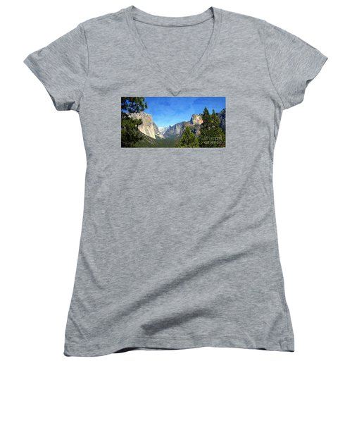 The Valley Of Inspiration-yosemite Women's V-Neck T-Shirt