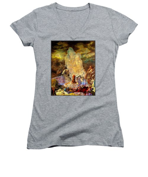 Women's V-Neck T-Shirt (Junior Cut) featuring the painting The Valley Of Sphinks by Henryk Gorecki