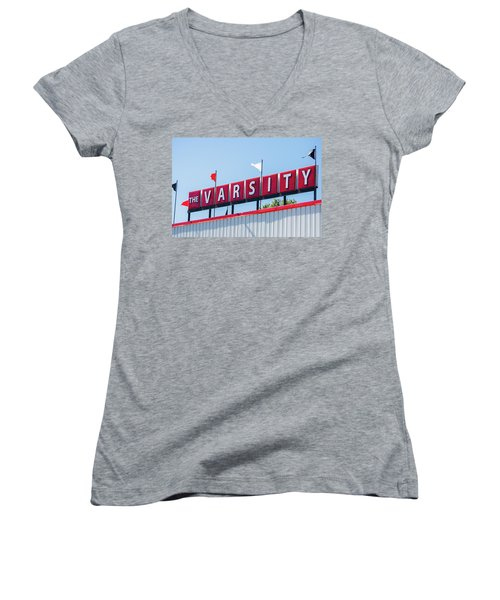 Women's V-Neck T-Shirt (Junior Cut) featuring the photograph The Varsity Sign by Parker Cunningham