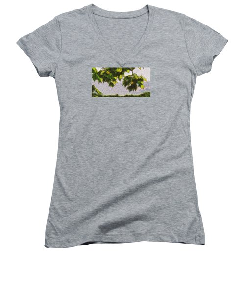 Women's V-Neck T-Shirt (Junior Cut) featuring the digital art The Vibrating Sky Beyond by Spyder Webb