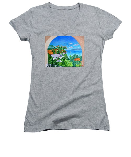 The View From A Window Women's V-Neck T-Shirt (Junior Cut) by Laura Forde