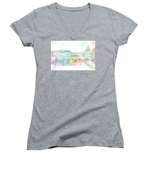 The View From Castel Sant'angelo Towards Ponte Sant'angelo, Brid Women's V-Neck