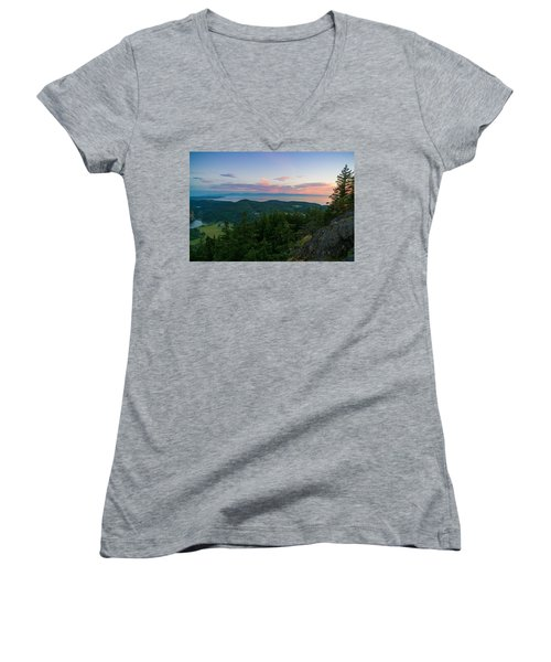 The View From Mt Erie Women's V-Neck T-Shirt (Junior Cut) by Ken Stanback