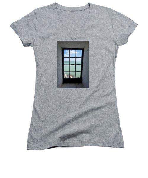 The View From The Lighthouse Window Bill Baggs Lighthouse Key Biscayne Florida Women's V-Neck T-Shirt