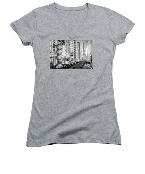 The Wabash L Train In Black And White Women's V-Neck
