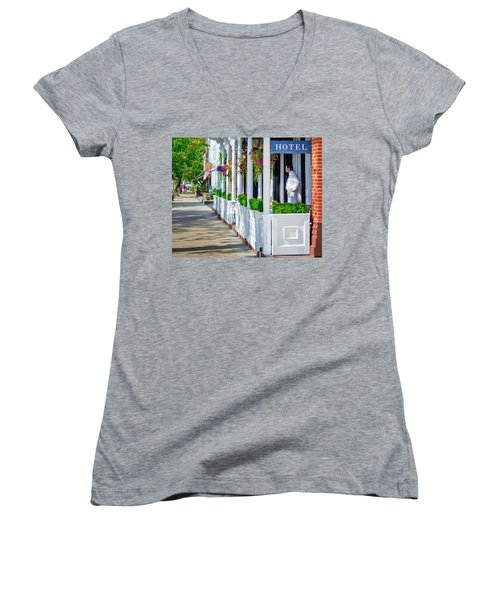 Women's V-Neck T-Shirt (Junior Cut) featuring the photograph The Waiter by Keith Armstrong
