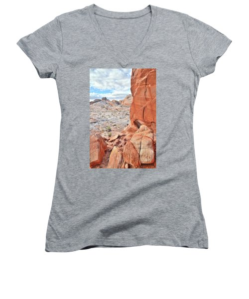 The Wall At Valley Of Fire Women's V-Neck T-Shirt (Junior Cut) by Ray Mathis