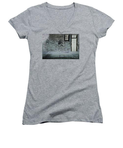 Women's V-Neck T-Shirt (Junior Cut) featuring the photograph The Wall by Douglas Stucky