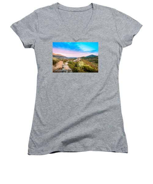 The Walls Of Ancient Messene - Greece. Women's V-Neck T-Shirt (Junior Cut) by Stavros Argyropoulos