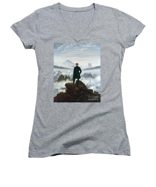 The Wanderer Above The Sea Of Fog Women's V-Neck