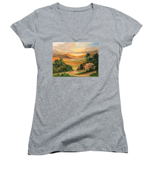 The Warmth Of Sunset Women's V-Neck T-Shirt (Junior Cut) by Remegio Onia