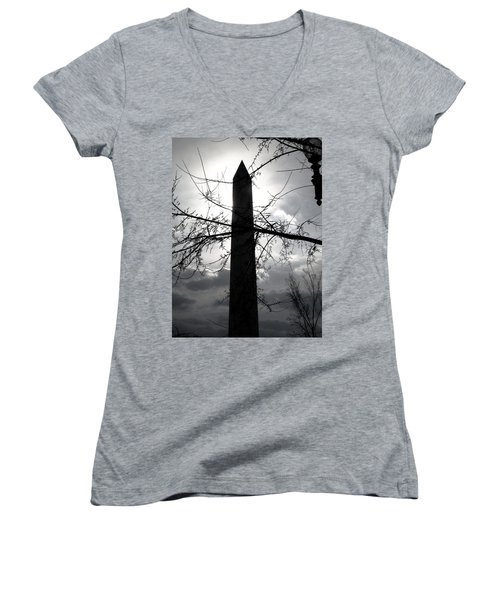The Washington Monument - Black And White Women's V-Neck (Athletic Fit)