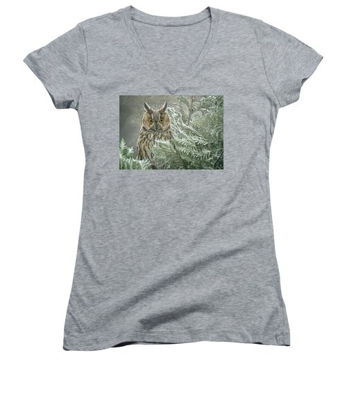 The Watcher In The Mist Women's V-Neck (Athletic Fit)