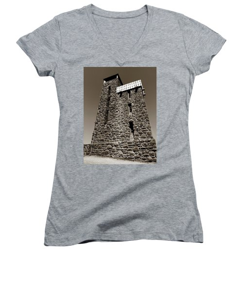 Women's V-Neck featuring the photograph The Water Tower At Mount Constitution by Lorraine Devon Wilke