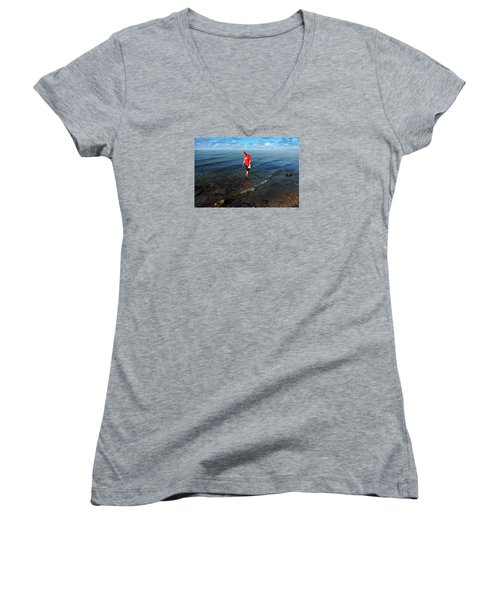 Women's V-Neck T-Shirt (Junior Cut) featuring the photograph The Water's Fine by Lena Wilhite