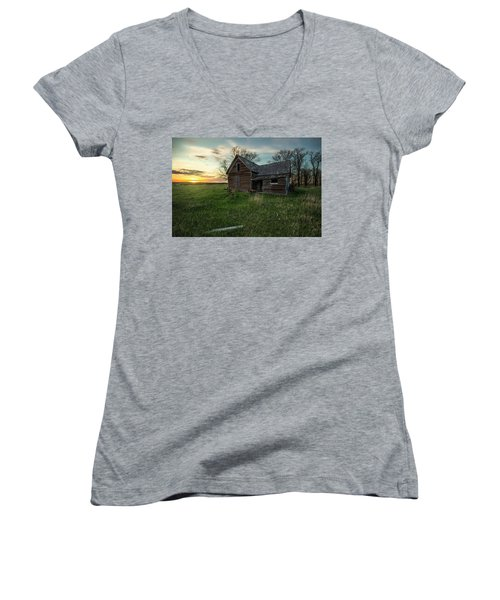 Women's V-Neck T-Shirt (Junior Cut) featuring the photograph The Way She Goes by Aaron J Groen