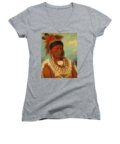 The White Cloud, Head Chief Of The Iowas Women's V-Neck (Athletic Fit)