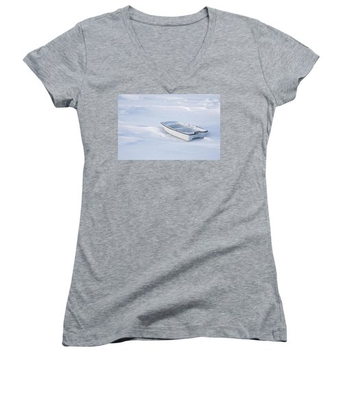 The White Fishing Boat Women's V-Neck T-Shirt (Junior Cut) by Nick Mares