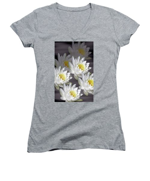 The White Garden Women's V-Neck T-Shirt (Junior Cut) by Rosalie Scanlon