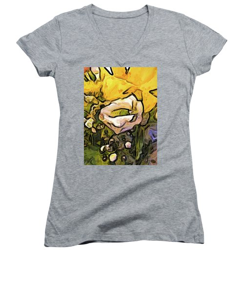 The White Rose With The Eye And Gold Petals Women's V-Neck (Athletic Fit)