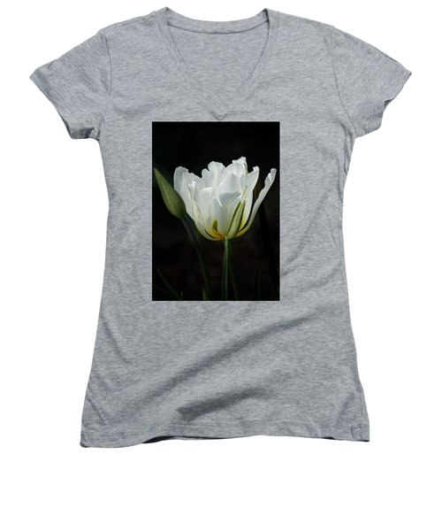 The White Tulip Women's V-Neck T-Shirt (Junior Cut) by Richard Cummings