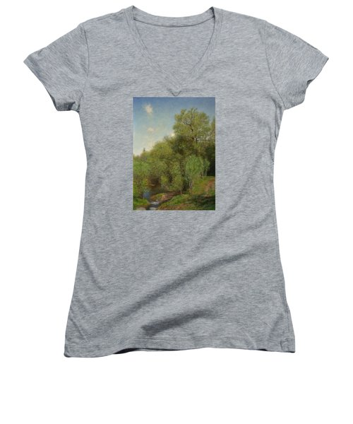 Women's V-Neck T-Shirt (Junior Cut) featuring the painting The Willow Patch by Wayne Daniels