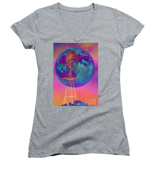 The Windmill And Moon In A Sherbet Sky Women's V-Neck T-Shirt (Junior Cut) by Toma Caul