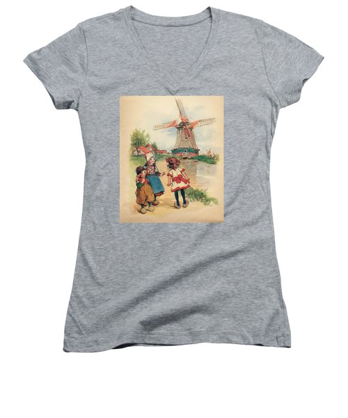 The Windmill And The Little Wooden Shoes Women's V-Neck T-Shirt (Junior Cut) by Reynold Jay