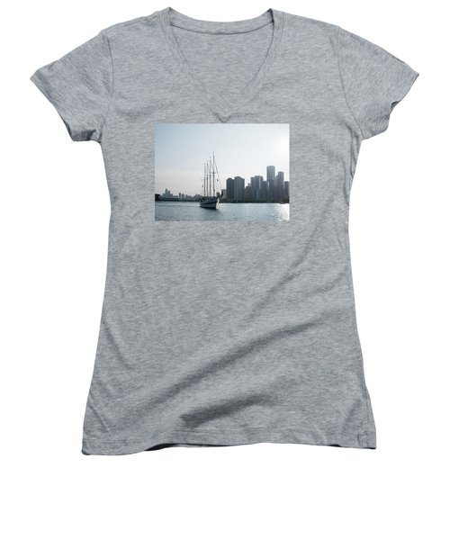 The Windy City Women's V-Neck T-Shirt (Junior Cut) by John Black