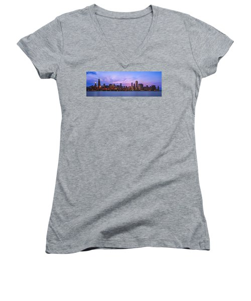 The Windy City Women's V-Neck T-Shirt (Junior Cut) by Scott Norris