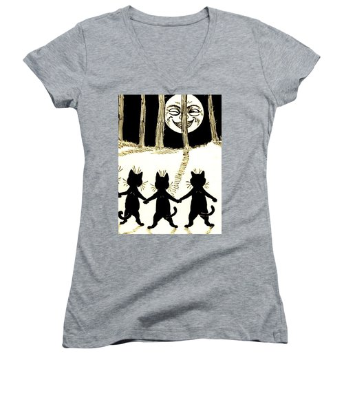 The Wink Six Black Pussy Cats Women's V-Neck (Athletic Fit)