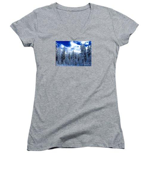 The Winter Blues  Women's V-Neck T-Shirt (Junior Cut) by Jennifer Lake