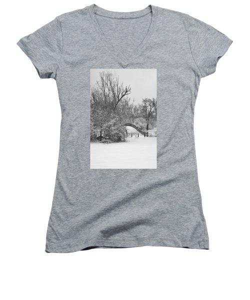 The Winter White Wedding Bridge Women's V-Neck T-Shirt (Junior Cut) by Daniel Thompson