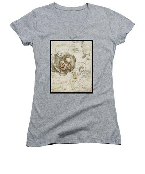 The Womb And Embreyo  Women's V-Neck T-Shirt (Junior Cut) by James Christopher Hill