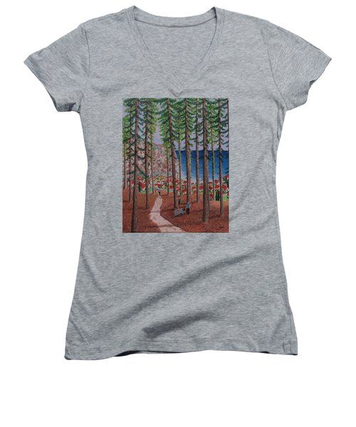 Women's V-Neck T-Shirt (Junior Cut) featuring the painting The Wood Collectors by Hilda and Jose Garrancho
