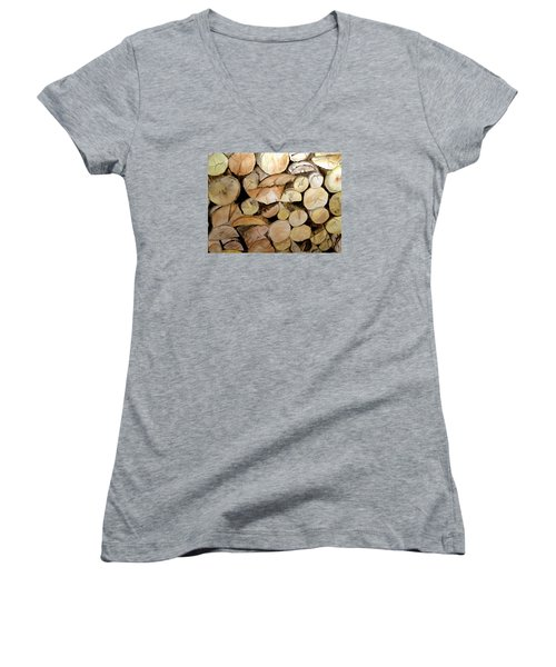 The Woodpile Women's V-Neck T-Shirt (Junior Cut) by Carol Grimes