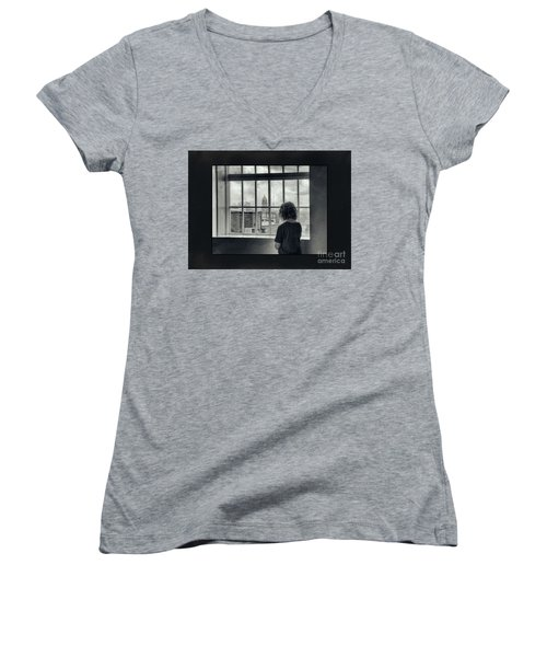 The World Outside My Window Number II  Women's V-Neck T-Shirt (Junior Cut) by Laurinda Bowling